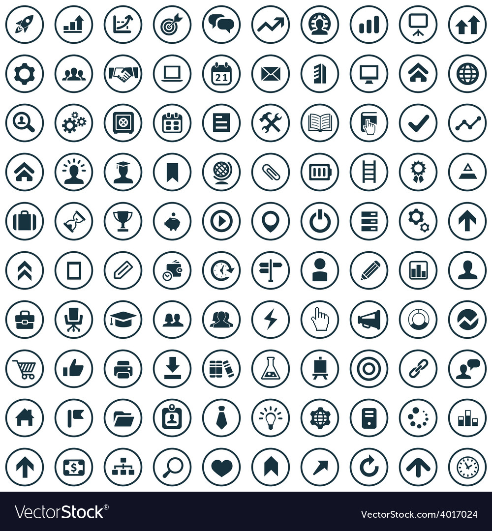 100 startup icons vector