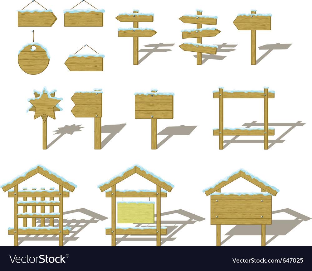 Wood signs winter set vector