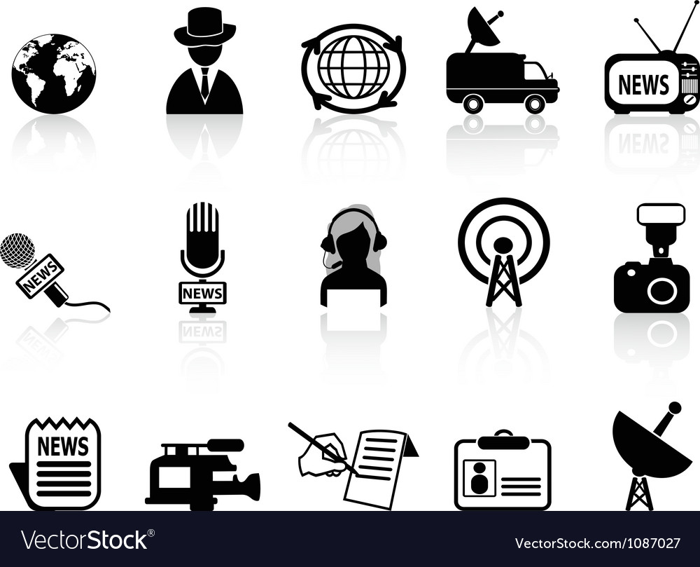 News reporter icons set vector
