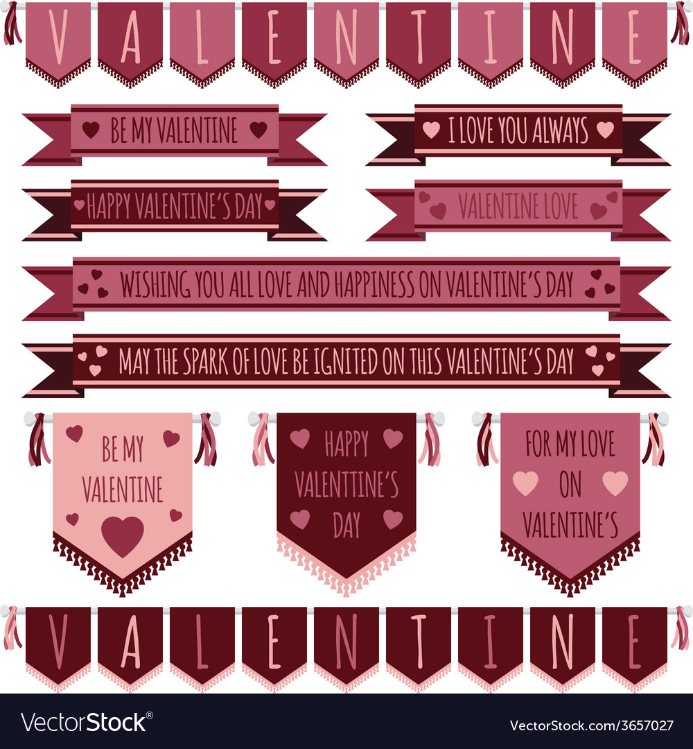 Valentine ribbons vector