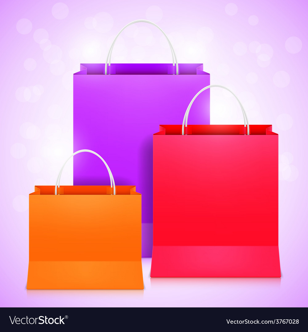 Color shopping bags vector