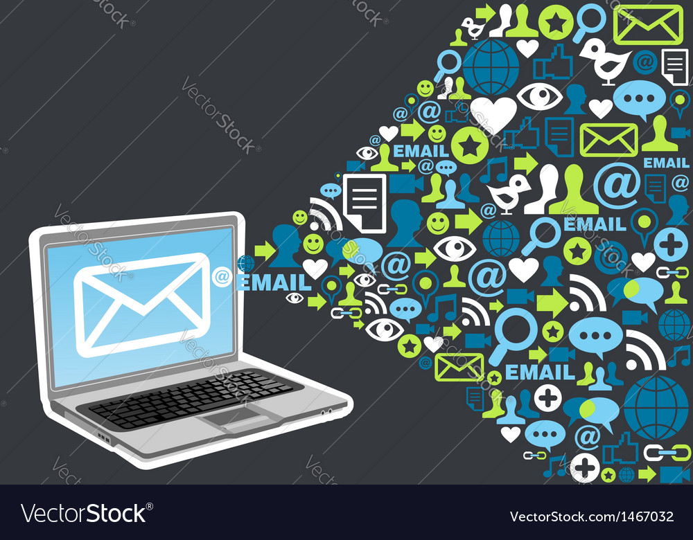 Email marketing icon splash concept vector