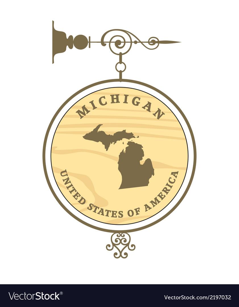 Vintage label michigan vector
