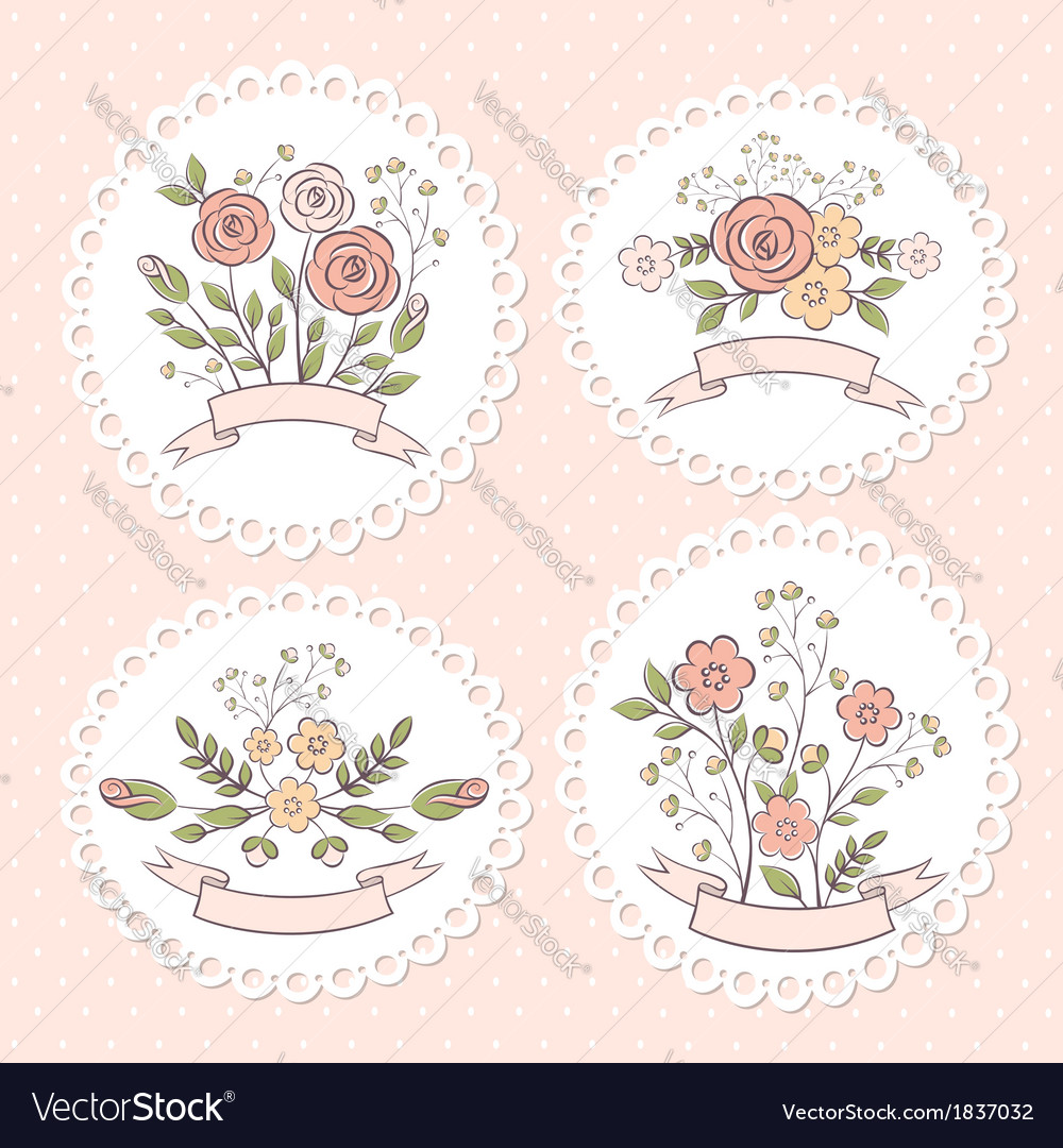 Wedding floral graphic set vector