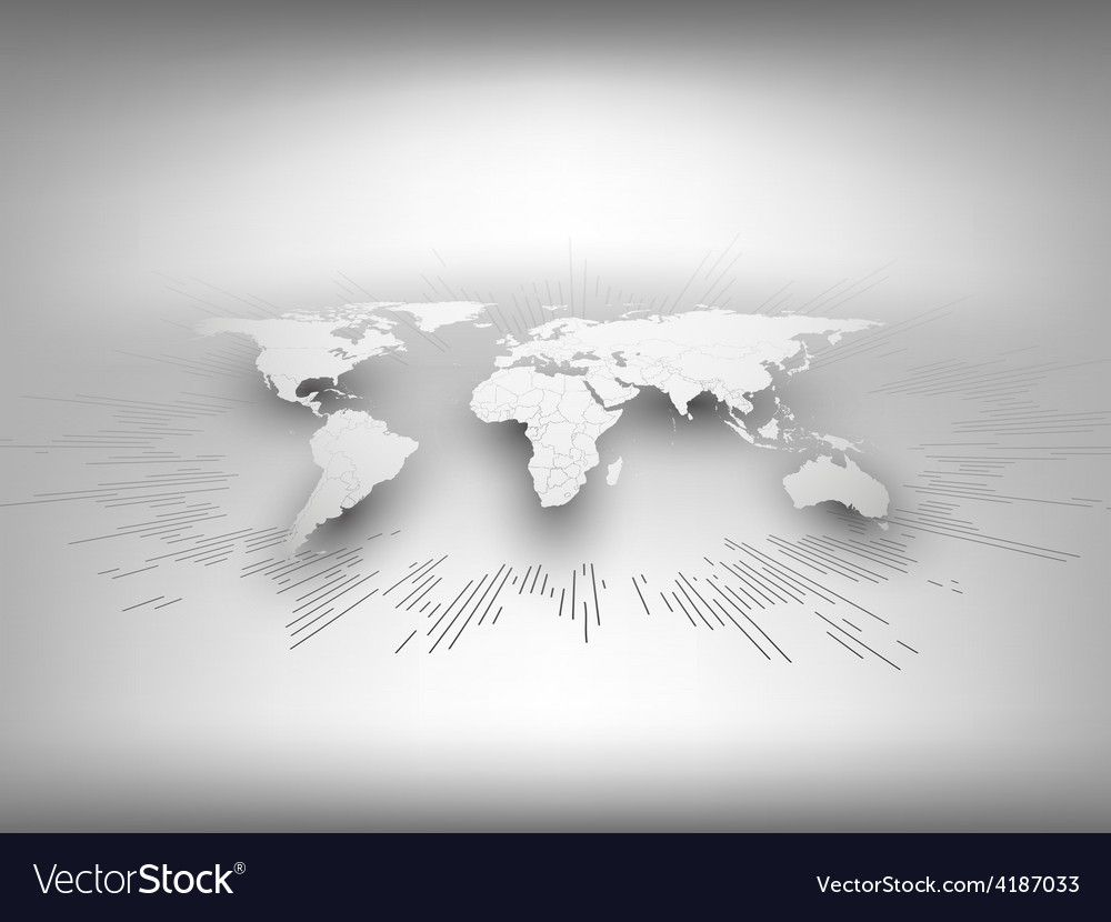 World map template in perspective on gray vector