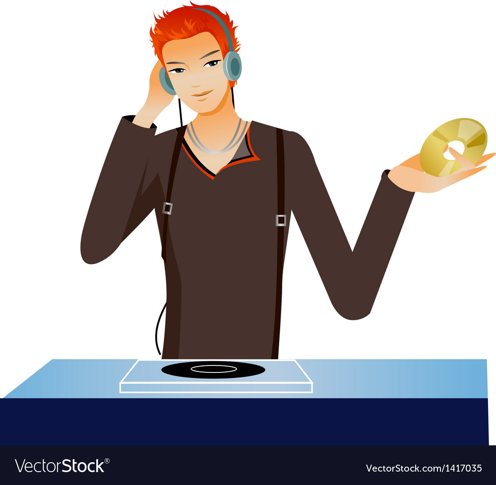 Dj mixing music vector