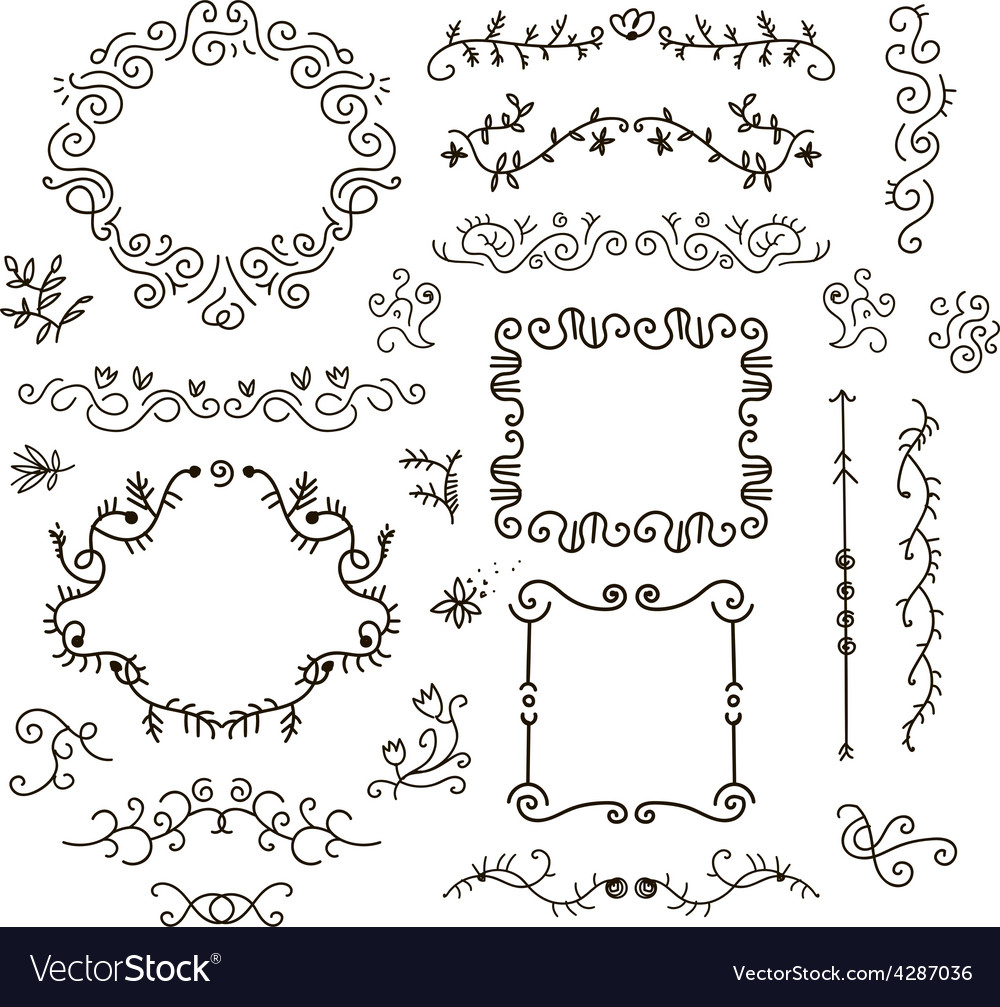 Floral decor set of hand drawn vintage vector