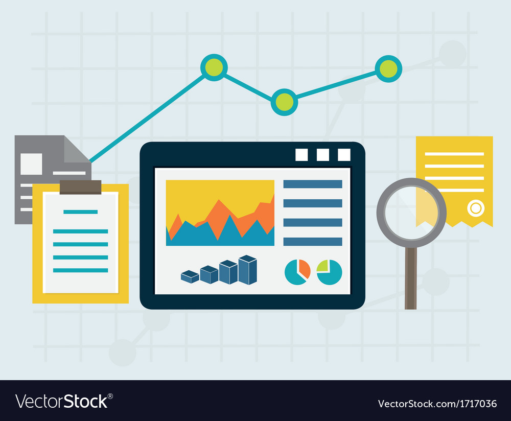 Programming process and web analytics elements vector