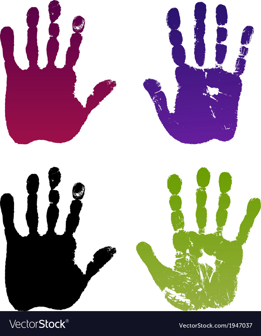 Old man four hand prints vector