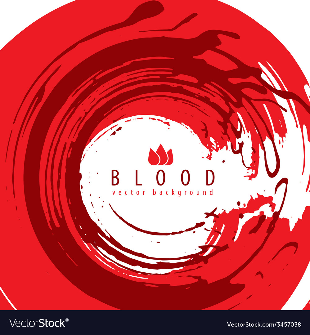Grunge style round shaped red blood abstract vector