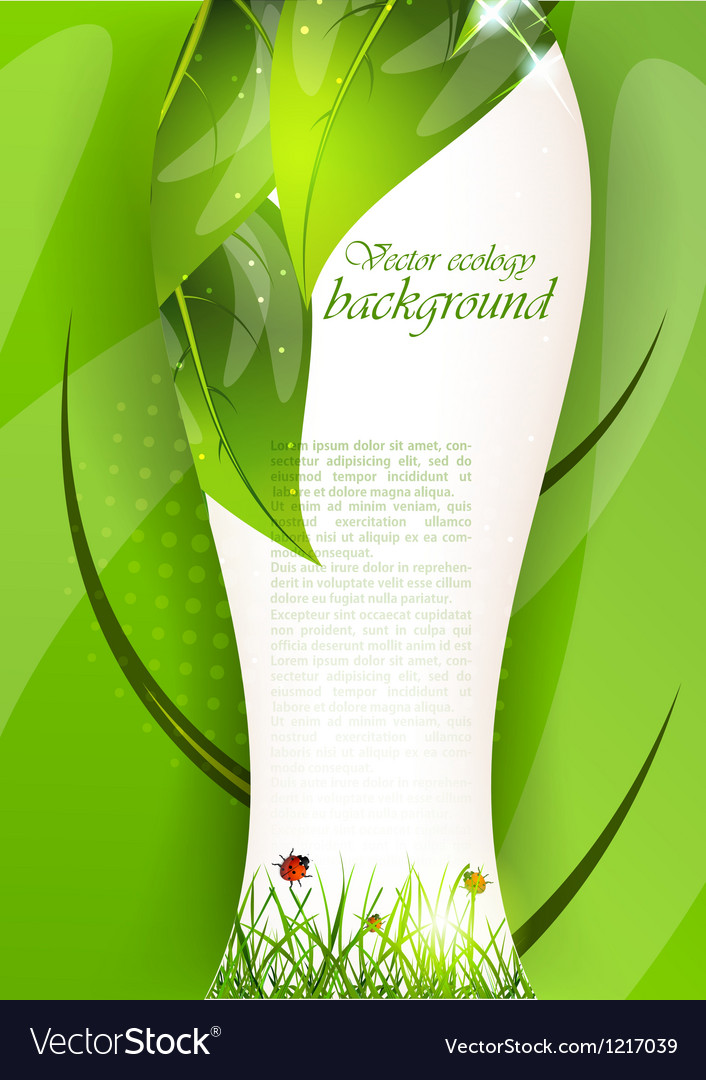 Background with leaves and grass vector
