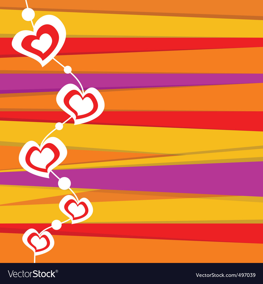 Valentine card on stripped background vector