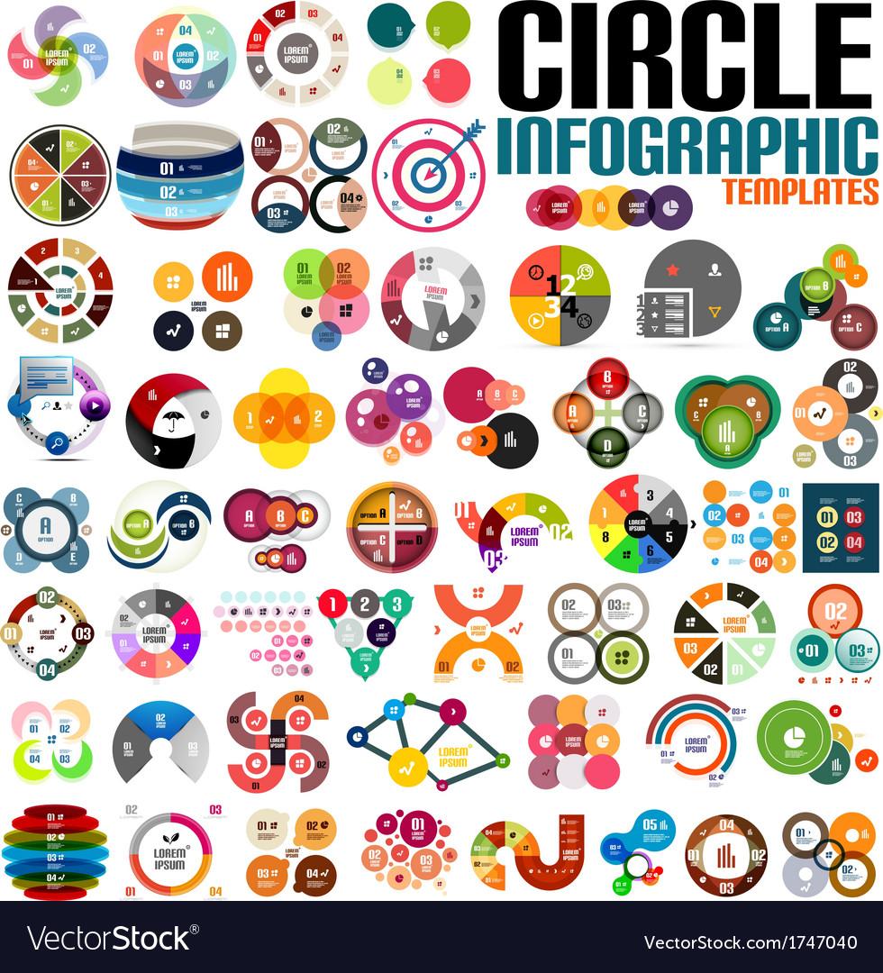 Huge modern circle infographic design template set vector
