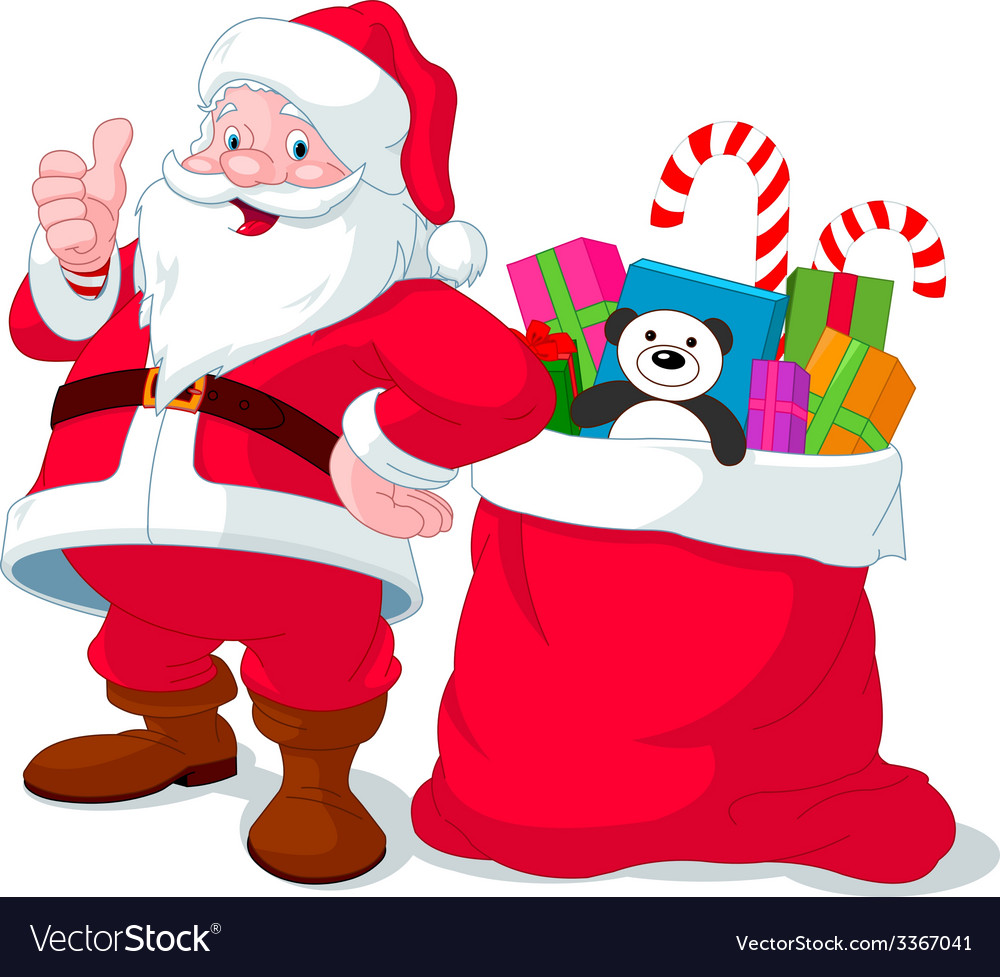 Santa claus with sack full of gifts vector