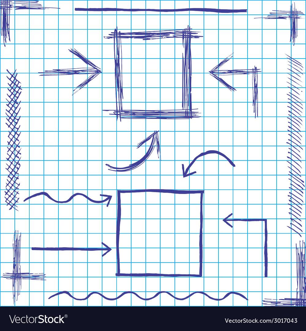 Arrows and frames sketchy design vector
