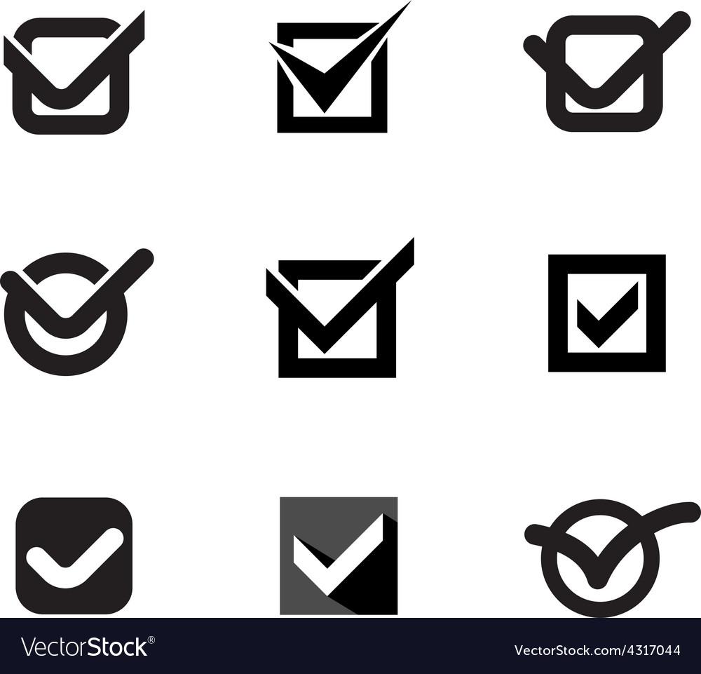 Simple black nine check marks set outline contour vector