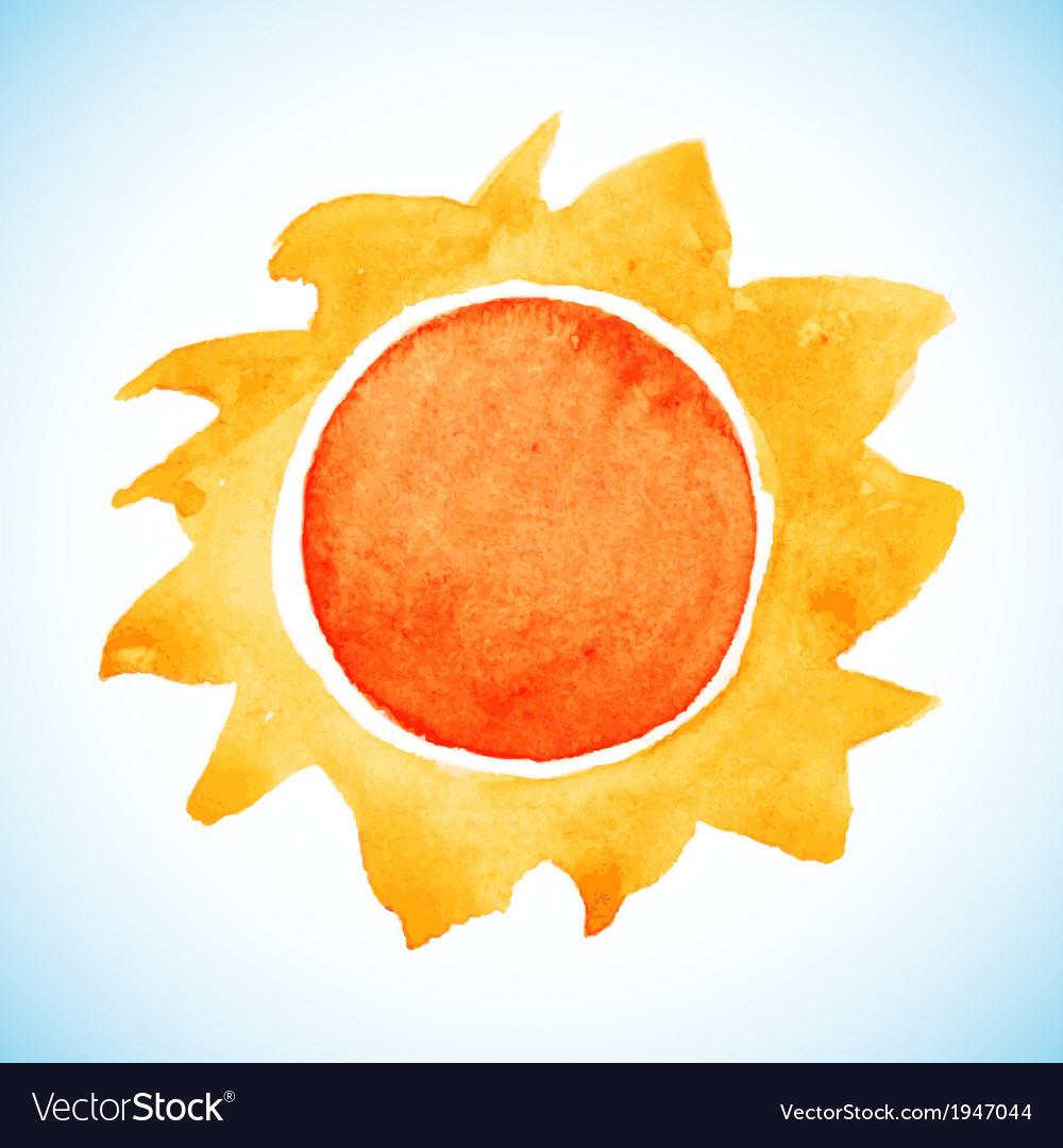 Watercolor sun vector