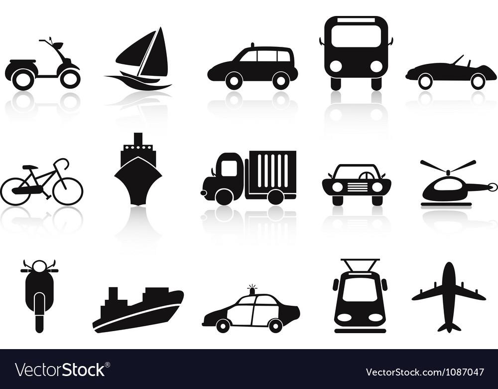 Black transportation icons set vector