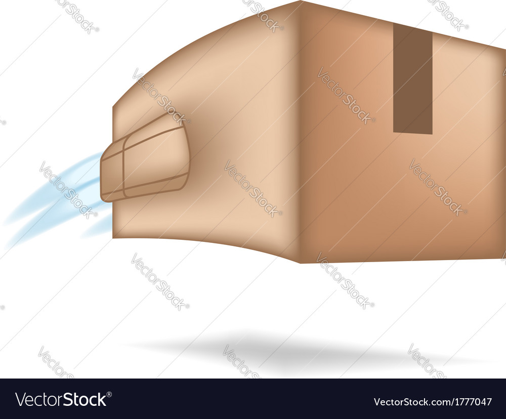 Fast package delivery concept box with jet engine vector