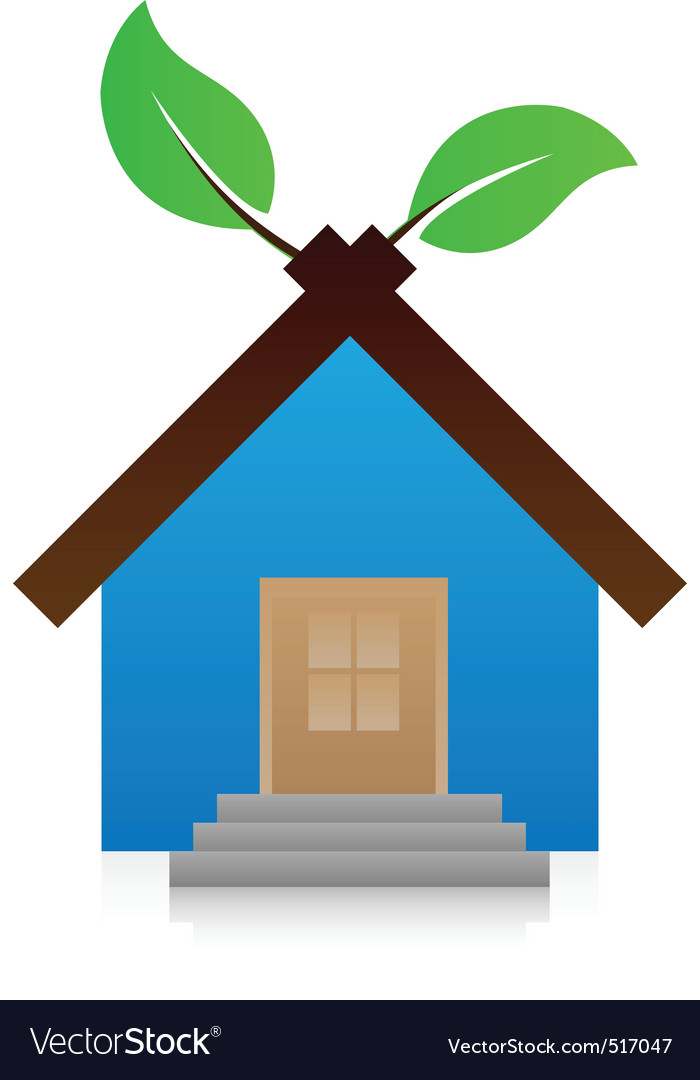icon house with leaf vector