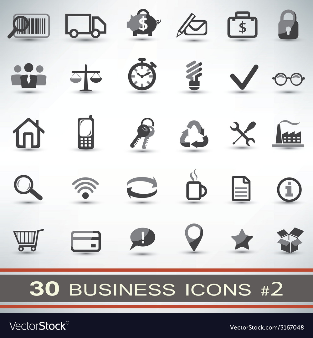 30 business icons set 2 vector