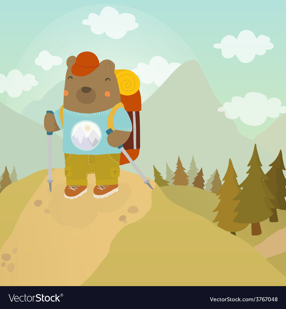 Cartoon bear adventure tourist vector