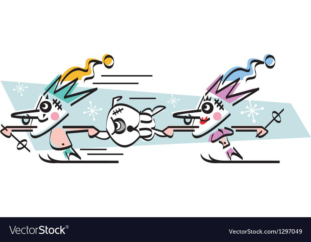 Jesters skiing vector