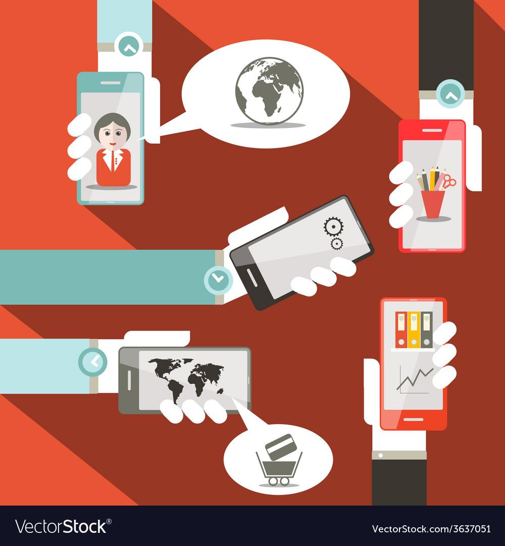 Cell phones in hands vector