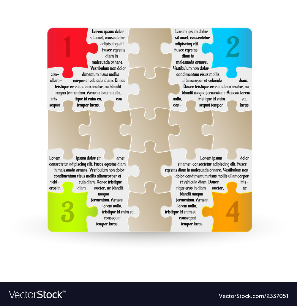 Infographics - four steps with puzzle pieces vector