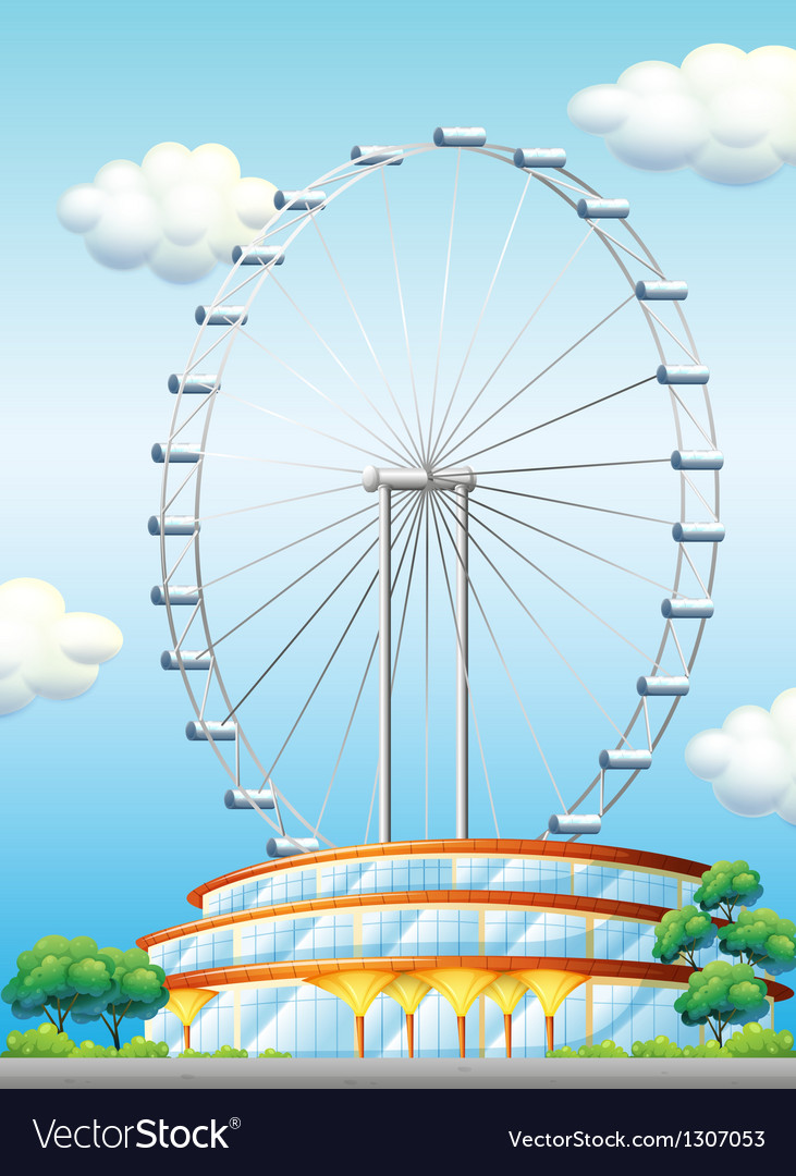 A stadium with a big ferris wheel vector