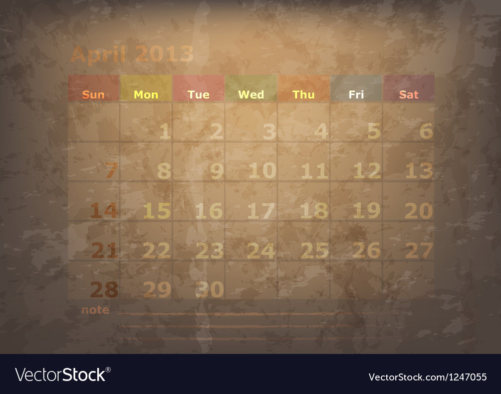 Antique calendar of april vector