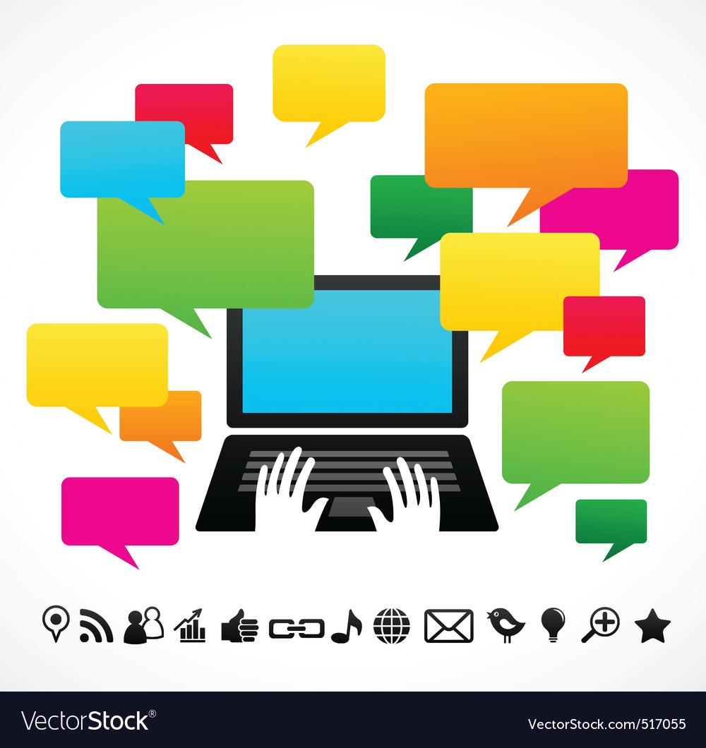 Laptop computer with speech bubbles vector