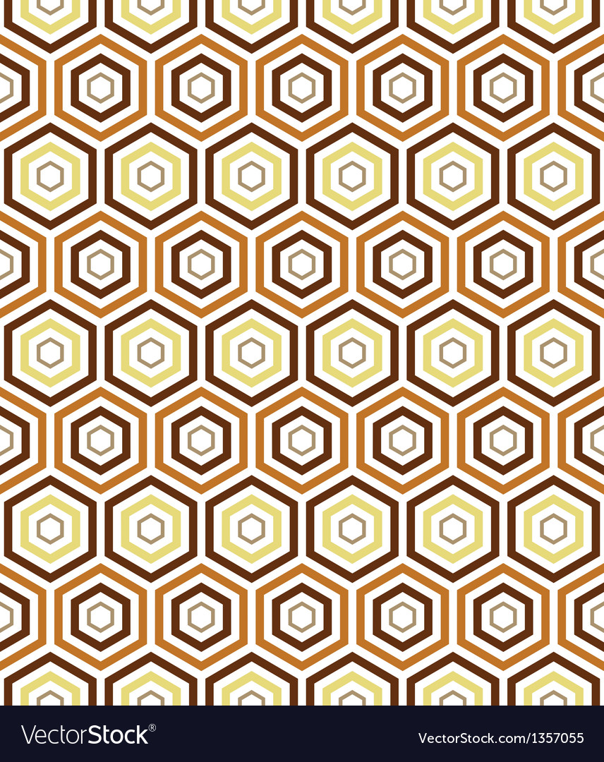 Seamless earth tone hexagon pattern background vector