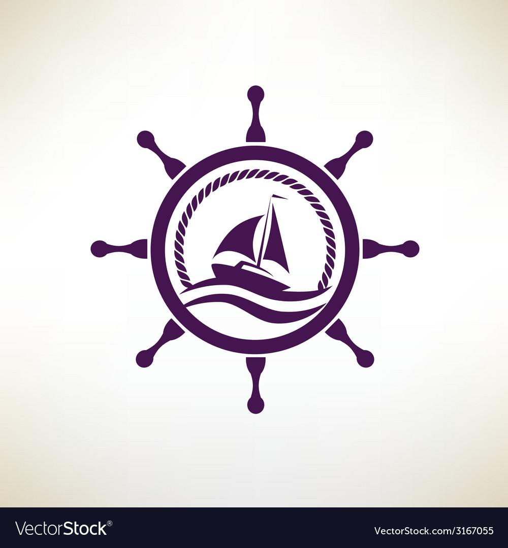 Yacht symbol regatta and travel concept vector