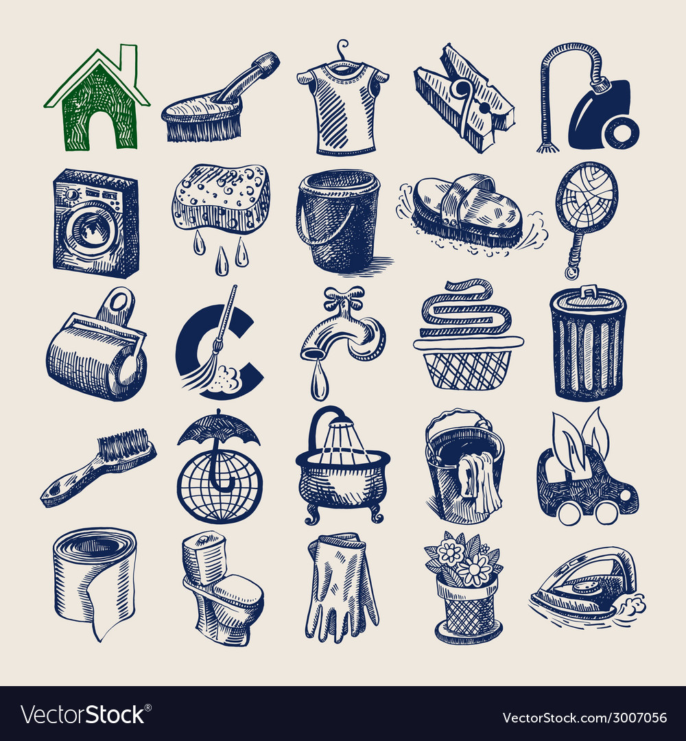 25 hand drawing doodle icon set cleaning and vector