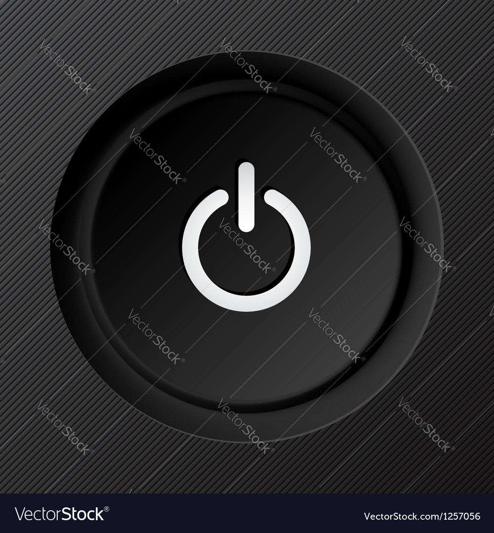 Black plastic power button vector