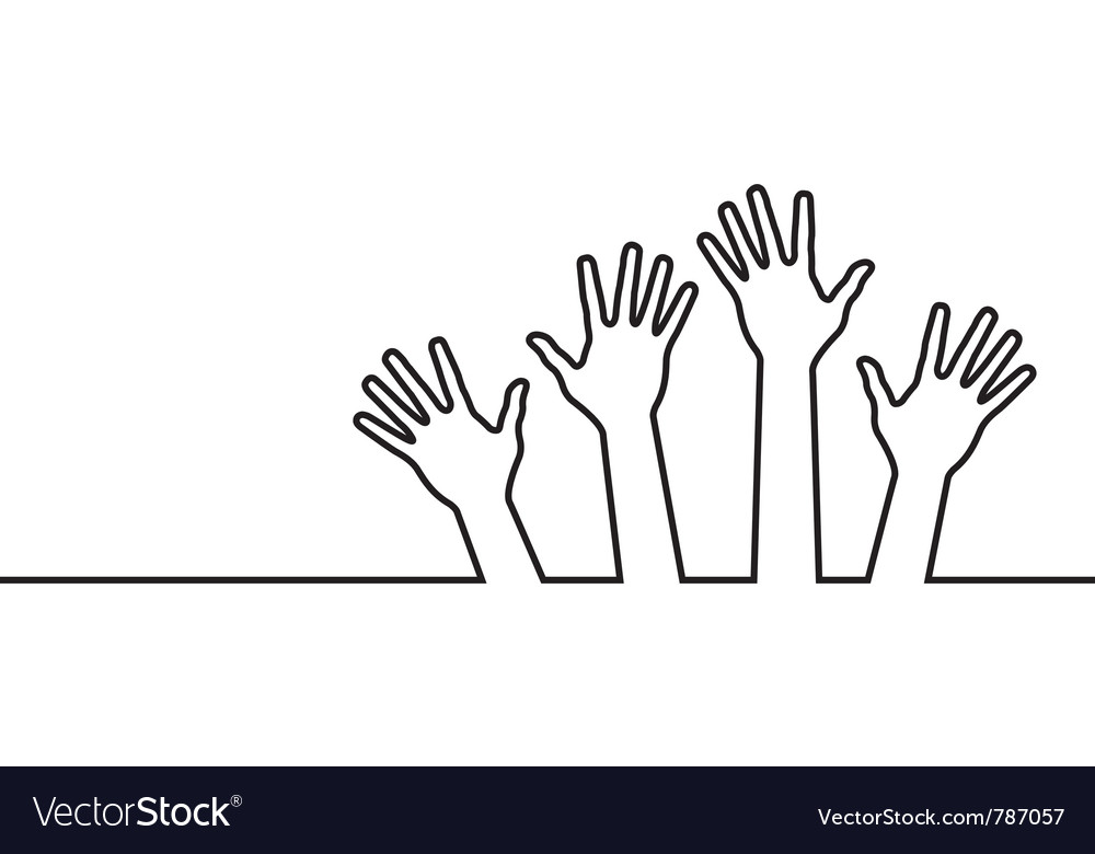 Black line of hands vector