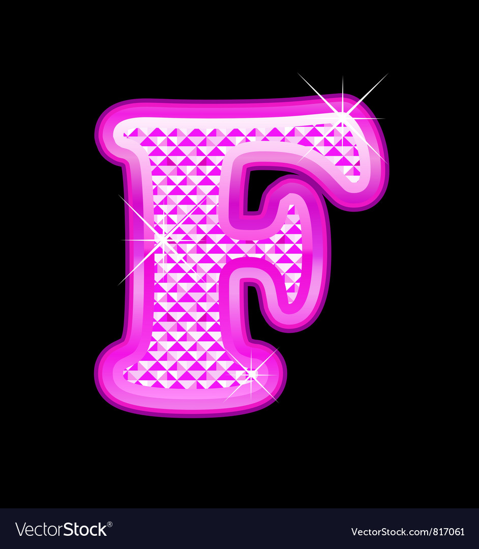 F letter pink bling girly vector