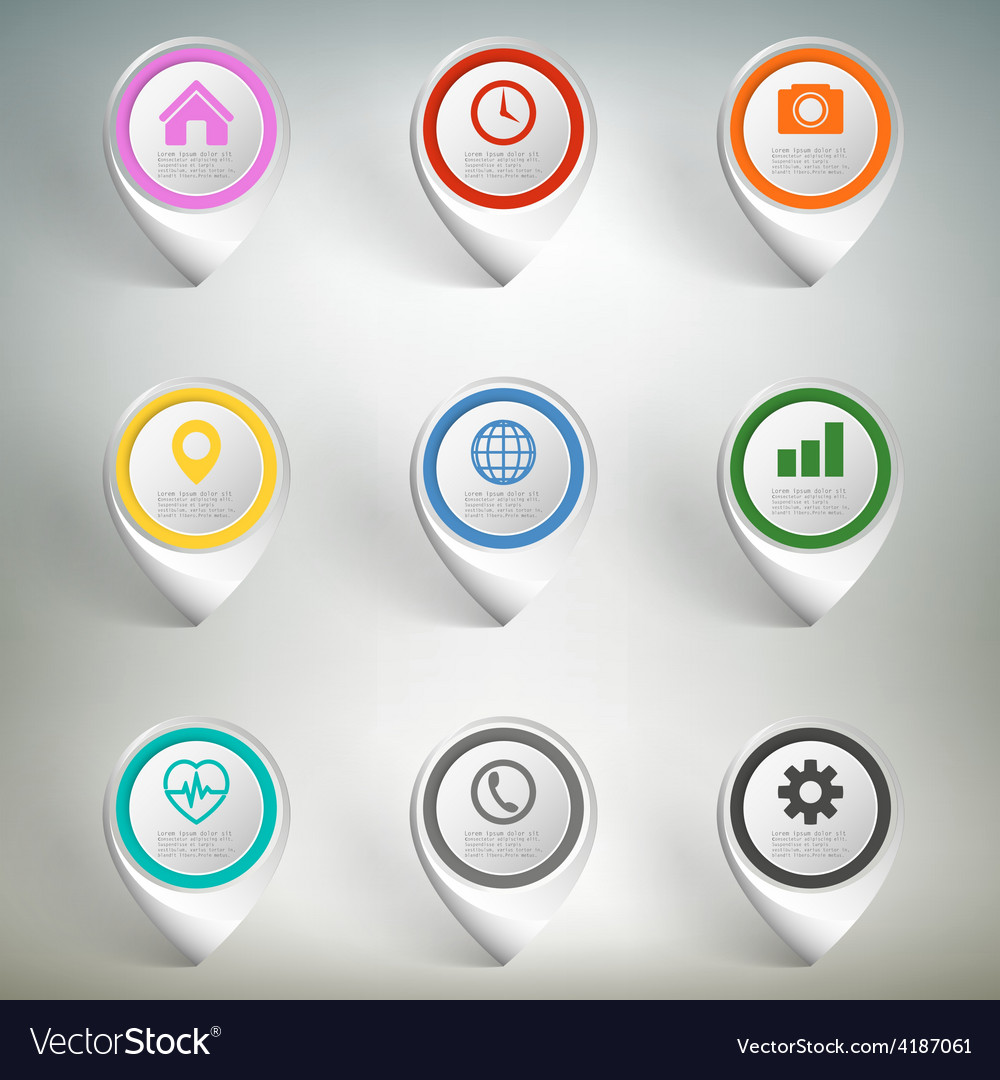 Pointer marks set colorful icon templates on gray vector