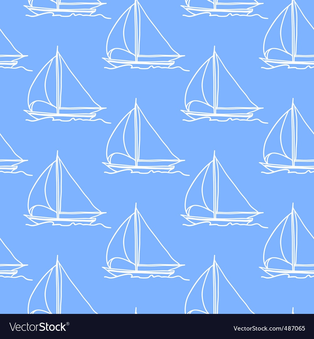 Seamless wallpaper with a sailboat vector