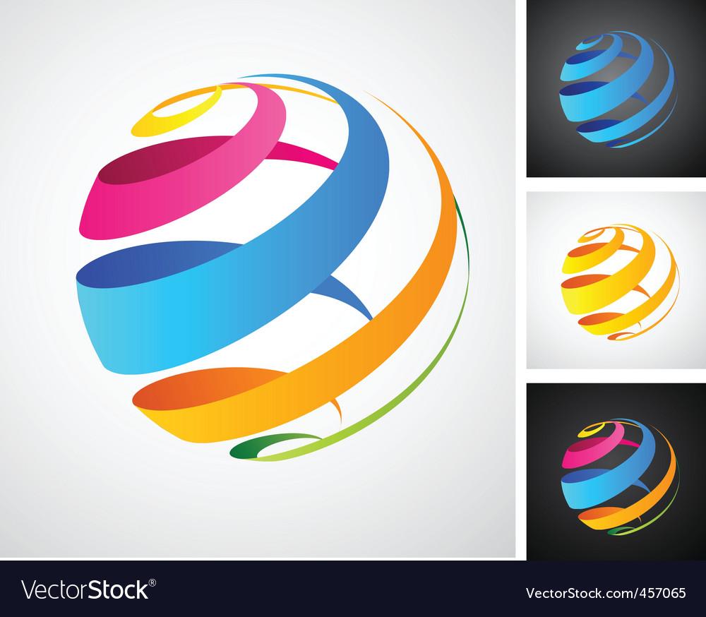 Spiral globe icon vector