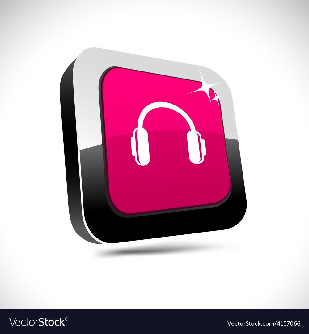 Headphones 3d square button vector