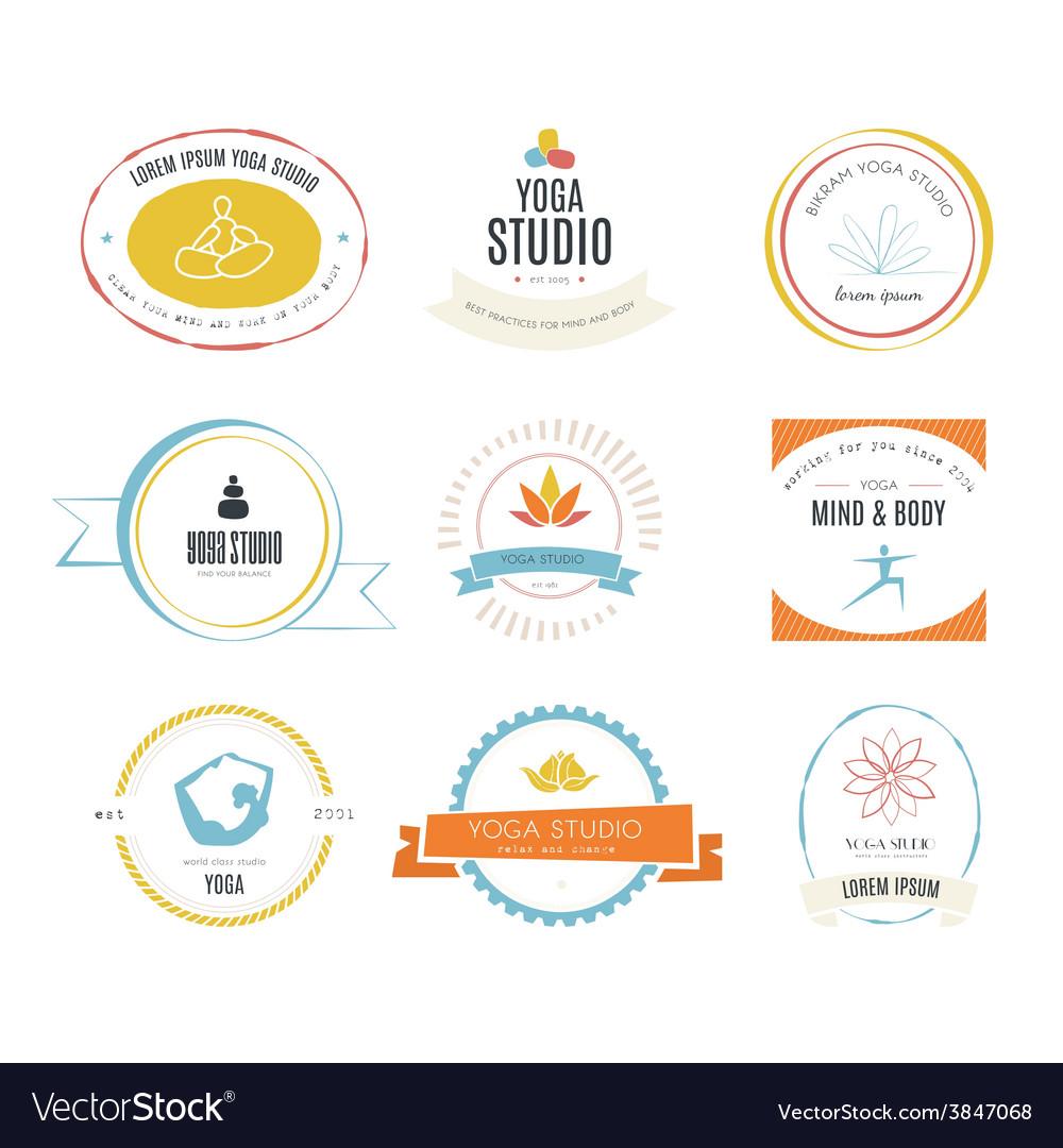 Yoga logotypes collection vector