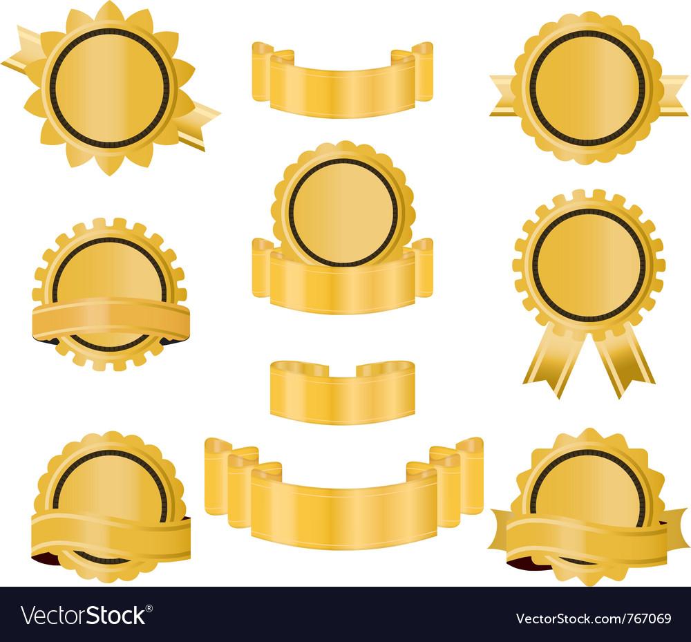 Golden seal ribbon vector