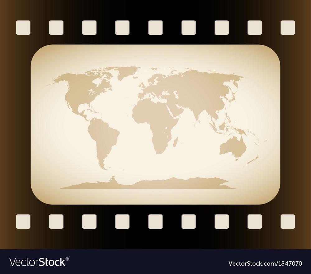 Earth map in film frame vector