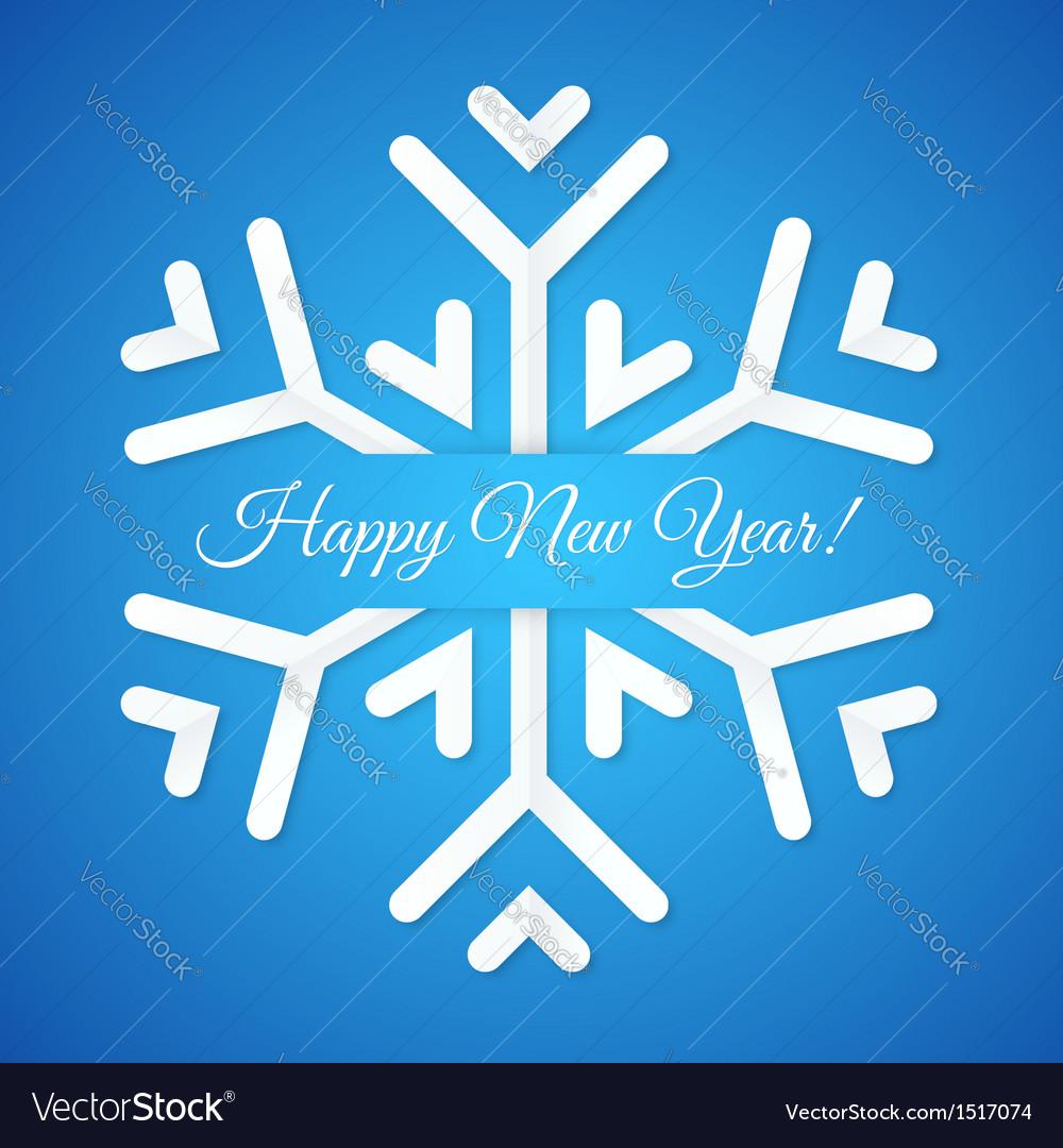 Blue paper snowflake postcard vector