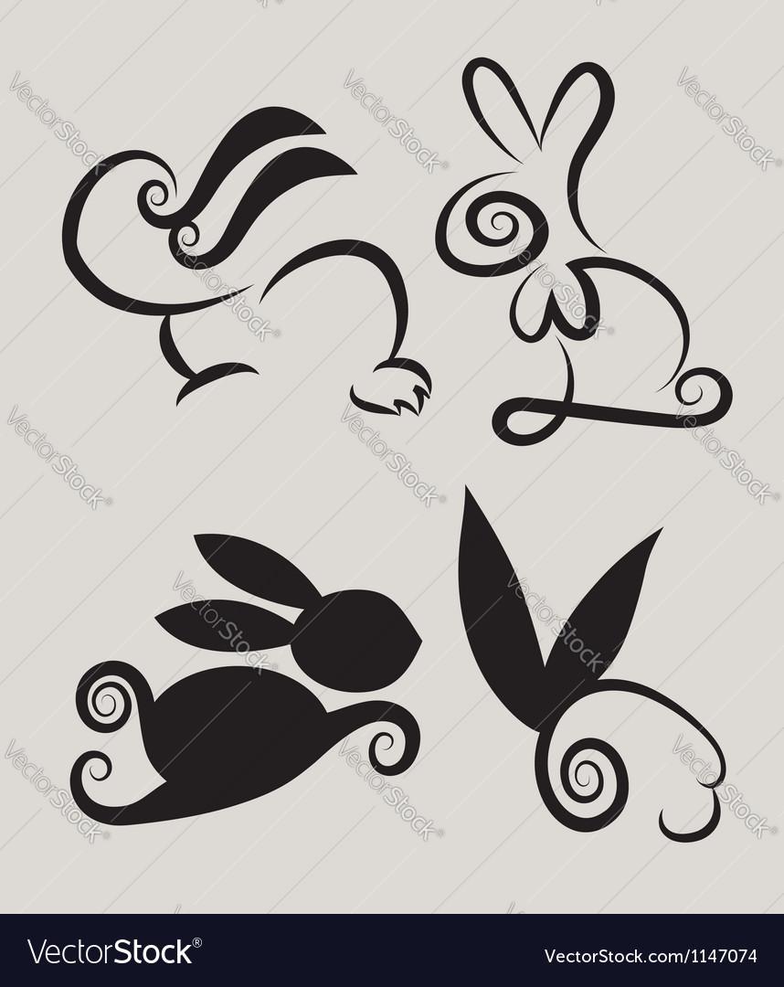 Rabbit symbols 2 vector