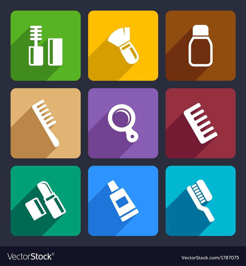Cosmetics perfume flat icons set 31 vector