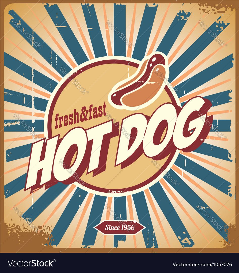 Retro hot dog sign vector