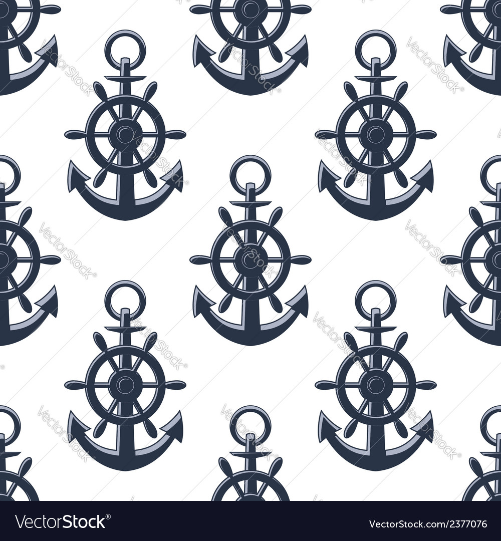 Sea anchors seamless pattern vector